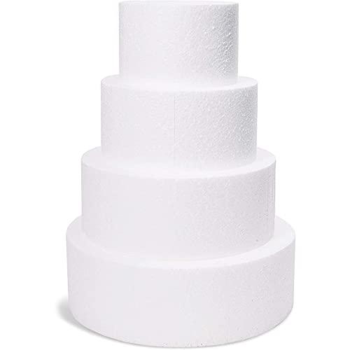 4 Piece Round Foam Cake Dummies 6, 8, 10, 12 inch x 4 inch Set for...