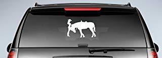 Adhesivo troquelado de vaquera con caballo (12 pulgadas x 7 1/2 pulgadas) para ventanas, coches, camiones, remolques, etc.