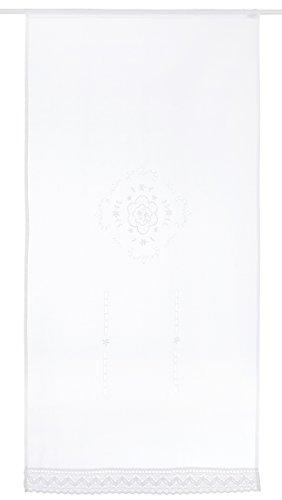 Home Fashion 023/715–0105180x 0090cm Puerta Adornos Estructura de Lino Bordado, plástico, Color Blanco, 180x 90cm