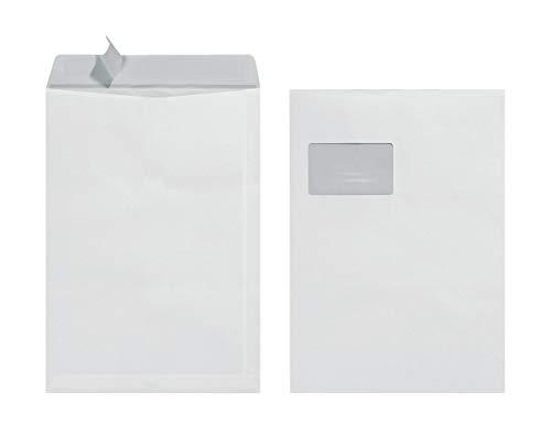 Herlitz Versandtasche C4 90 g Haftklebend mit Fenster, 25 Stück mit Innendruck in Folienpackung, eingeschweißt, weiß (10x 25 Stück)