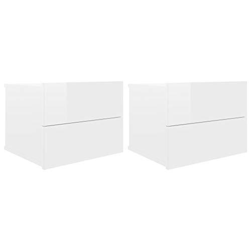 vidaXL 2X Nachttisch 2 Schubladen Hängend Schwebend Nachtschrank Nachtkommode Nachtkonsole Wandschublade Wandregal Hochglanz-Weiß 40x30x30cm Spanplatte