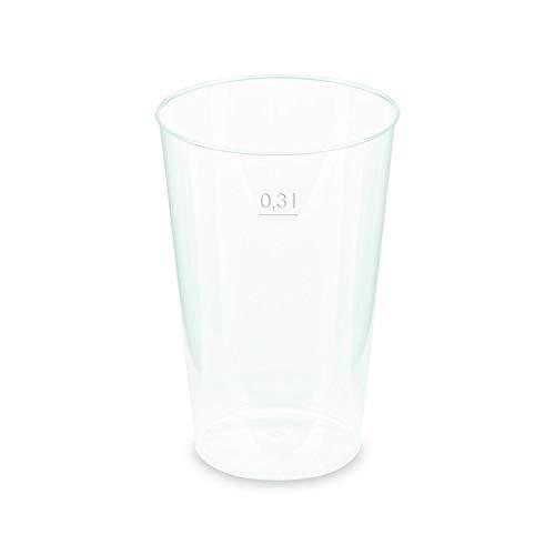 1-PACK Mehrwegbecher Trinkbecher Partybecher Pfandbecher unzerbrechlich klar PP Eichstrich 0,30 l Ø 7,9 cm, 50 Stück