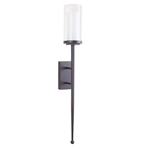ZWL Simple Applique Lampe Noir Fer Verre Aisle The Stairs Simple-tête Long-bar Lampe mode ( Couleur : Noir )