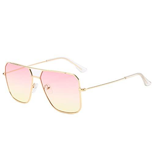 BAJIE Gafas de Sol, Nuevas Gafas de Sol de Aviador a la Moda, Gafas de Sol de Gran tamaño para Mujer, Espejo Fresco para Mujer, Color Degradado Uv400