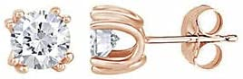 4.00Ct Round Cut Coated Moissanite Stud Push Back Earrings 14K Rose Gold Plated