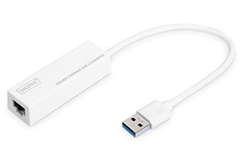 DIGITUS Netzwerk-Adapter über USB 3.0 - Gigabit-Ethernet 1 GBit/s RJ45 - Zusätzlicher LAN-Anschluss über USB-A Stecker
