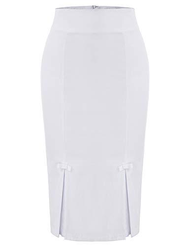 Plus Size Vintage White Skirt Women's Wear to Work Stretchy Office Pencil Skirt XXL BP587-5