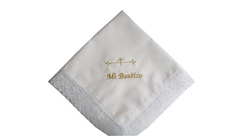 Pañuelo bautizo bordado letras doradas 35x35 cm