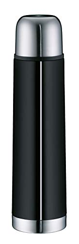 alfi Isolierflasche Edelstahl isoTherm Eco, Edelstahl schwarz 750ml, Thermosflasche mit Becher 5457.233.075 dicht, Drehverschluss, Thermoskanne 12 Stunden heiß, 24 Stunden kalt, BPA-Frei