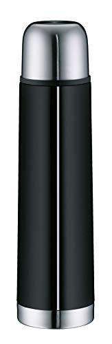alfi 5457.233.075 Isolierflasche IsoTherm Eco, Edelstahl Schwarz, 0,75 Liter, Drehverschluss, 12 Stunden heiß, 24 Stunden kalt, BPA-Free