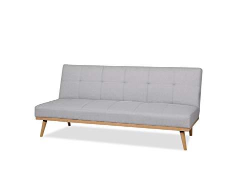 AmazonBasics - Sofá cama de tres plazas, 182 x 80 x 80, Gris claro