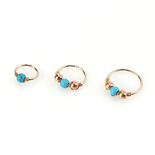 1 unids Blue Circle Beads Falso Anillo de la Nariz Hoop Septum Anillos de Acero Inoxidable Piercing Piercing Fake Piercing Peding Pendiente Joyería 6.26 (Color : Rose Gold, Size : 6mm)