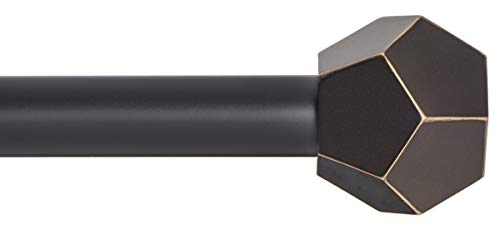 Ivilon Drapery Treatment Window Curtain Rod - Faceted Hexagonal 1 inch Pole. 48 to 86 Inch. Antique Black