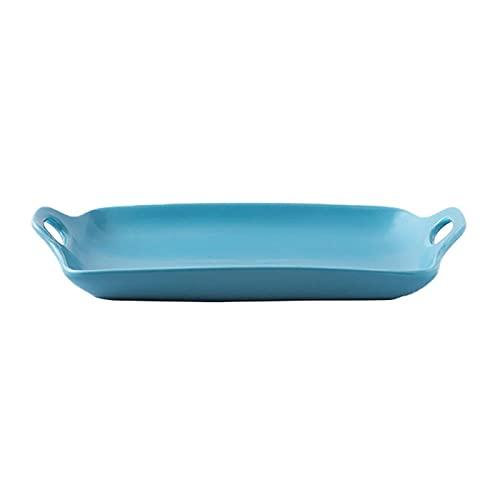 1 Piece Baking Sheet Non-Stick Baking Coating Mold Binaural Personality Dish 11 Inches Blue