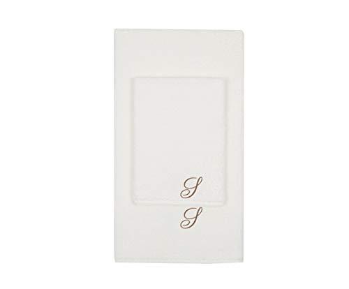 Juego de toallas con inicial bordado, toalla para la cara, toalla de invitados, iniciales bordadas, fabricadas en Italia, color crema bordado letra S color gris tostado