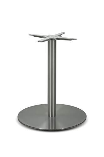 Edelstahl Tischgestell rund | DUBLINO PD7086inox | Inox, satiniert, matt | Esstisch Säule mit Bodenplatte 60 cm Durchmesser