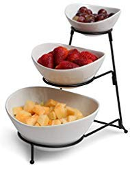 3 Tiered Oval Chip And Dip Set With Metal Rack, Three Tier Dessert And Snack Server (Bowls)