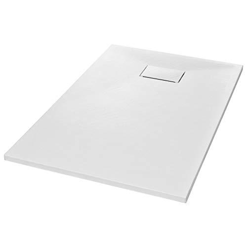 vidaXL Plato Ducha Resina Textura Pizarra Extraplano Antideslizante Mineral Fibra Vidrio Resistente Duradero Fácil Limpiar Cuadrado Blanco 120x70 cm