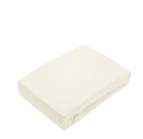 EXKLUSIV HEIMTEXTIL Sábana bajera ajustable de rizo, 120 x 200 cm, color blanco natural