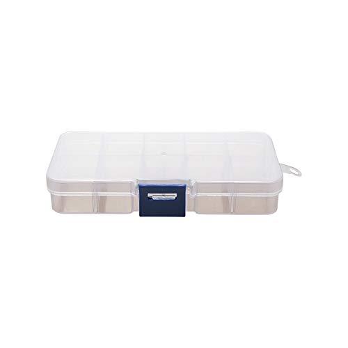 Pequeña rejilla de 10 se puede desmontar, pendientes de pestañas, piezas de armadura, cuentas de caja, gluten de cristal, caja de almacenamiento de plástico transparente, naranja