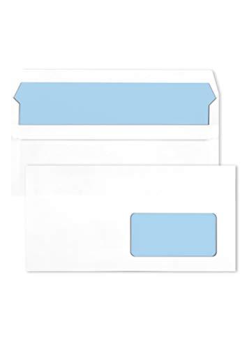 1000 weiße DIN lang Umschläge mit Fenster (rechts) 110X220 mm 75g Briefumschläge weiß mit blauem Innendruck gerade Klappe selbstklebend weiße Fensterbriefumschläge DL