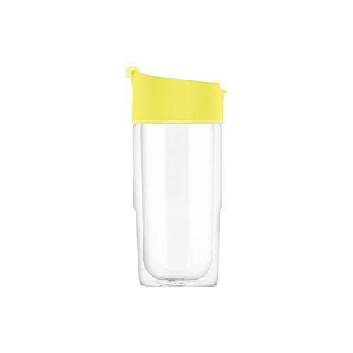 SIGG Nova Ultra Lemon Thermobecher (0.37 L), schadstofffreier & isolierter Kaffeebecher, auslaufsicherer Coffee to go Becher aus hitzebeständigem Glas