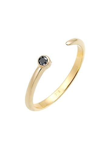 Elli PREMIUM Ring Damen Solitär mit Schwarzem Diamant (0.03 ct.) offen in 375 Gelbgold