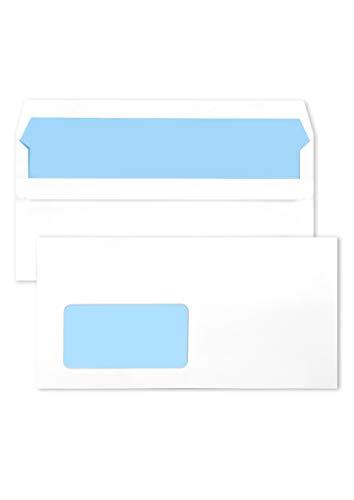 1000 weiße DIN lang Briefumschläge mit Fenster (links) 110X220 mm 75g Briefkuverts weiß mit blauem Innendruck gerade Klappe selbstklebend Briefhüllen Geschäftsumschläge Fensterumschläge DL