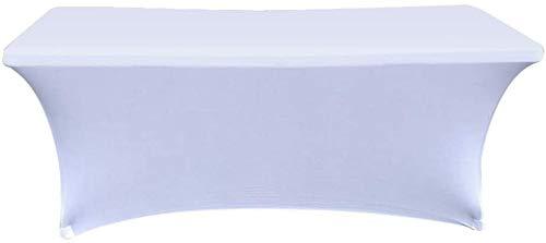 Namvo Mantel elástico, 15 cm, rectangular, de spandex, para mesa de comedor, cuádruple ajustado, elástico, mantel protector de mesa para boda, bar o banquete, color blanco