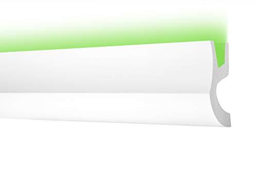 LED Zierleiste 95x42cm - effektvolle Deckengestaltung mit indirekter Beleuchtung - Stuckleiste aus hartem Styropor, leicht und stabil - 2 Meter Leiste, CK26