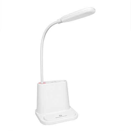 Mode Multifunktions einstellbare Led Tischlampe, Tischlampe + Lade Schatz + Handy Halterung + Stifthalter Vier-in-One-Touch-Konsole Licht, mit USB-Lade Leselampe Nacht,White