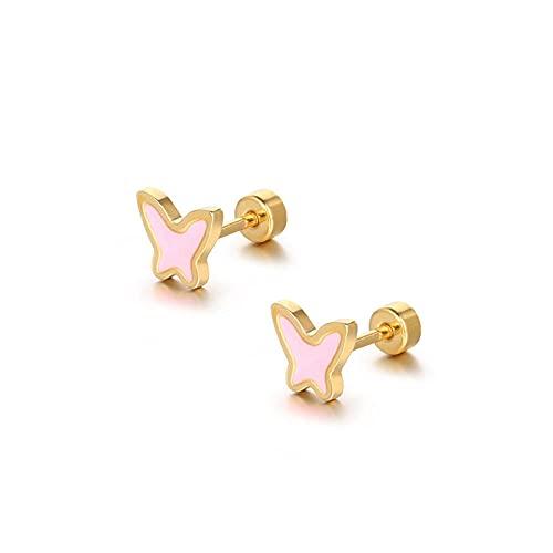 YFZCLYZAXET Pendientes Mujer Pendientes Casuales De Moda Mini Pendientes Exquisitos Pendientes De Acero De Titanio-Rosa