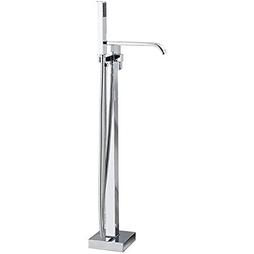 KISAD Grifo para bañera Faucet de llenado de la bañera Faucet Montado en el Suelo Grifo de Ducha de Cromo con Copa de Cascada Tapa de la bañera Freestanding Toque con pulverizador de Mano