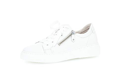 Gabor Damen Sneaker, Frauen Low-Top Sneaker,Best Fitting,Reißverschluss,Optifit- Wechselfußbett, feminin elegant Women's Women,Weiss,39 EU / 6 UK