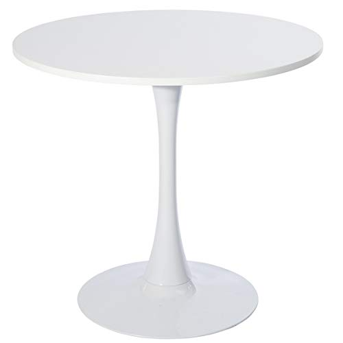 GreenForest Round Dining Table Mid-Century Modern Tulip Pedestal Leisure Table with Srong Metal Base, White
