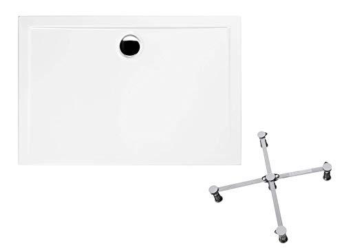 Calmwaters® - Modern Select - Flache Duschwanne aus Acryl in 120 x 90 x 2,5 cm im Komplettset mit Wannenfuß - 99000104
