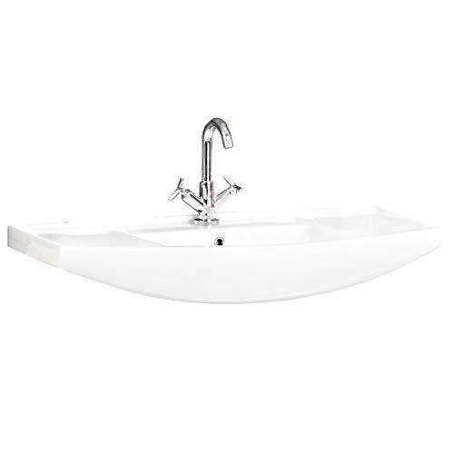 FACKELMANN Waschbecken A-VERO / Waschtisch aus Keramik / Maße (B x H x T): ca. 102 x 18,5 x 50 cm / hochwertiges Becken fürs Badezimmer / Farbe: Weiß / Breite: 102 cm
