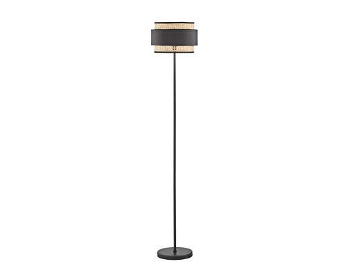 Stylishe LED Stehleuchte 150cm hoch mit schwarzem Gestell & Rattan-Lampenschirm mit Stoff-Blende