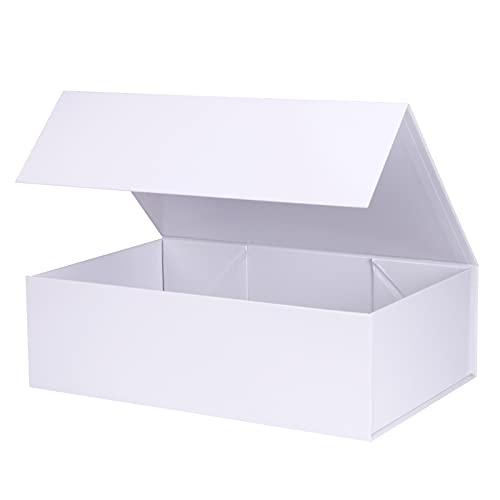 Scatola Regalo con coperchi, 35,5 x 24 x 11 cm Confezione regalo pieghevole per Natale, cioccolato, dolci, bianco lucido con goffratura, confezione da 3