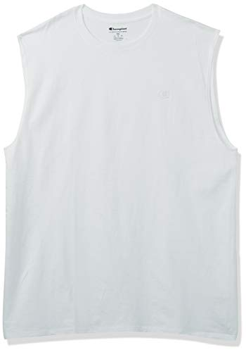 Champion Men's Classic Jersey Muscle T-Shirt, White, XL