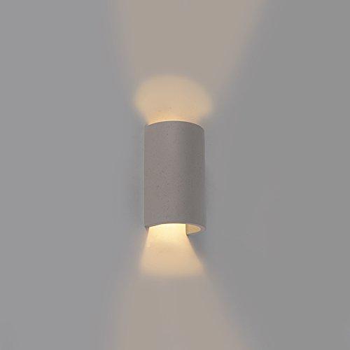 QAZQA Industriel Applique murale semi-circulaire industrielle en béton gris - Meaux/Gris Rond G9 Max. 1 x 25 Watt/Luminaire/Lumiere/Éclairage/intérieur/Salon/Cuisine