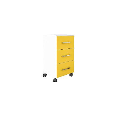 Gaveteiro Pietra Flex Color 3 GV Branco com Amarelo