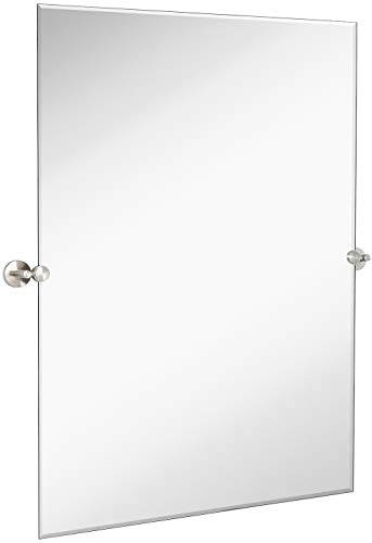 Hamilton Hills Large Pivot Rectangle Mirror with Brushed Chrome Wall Anchors | Silver Backed Adjustable Moving & Tilting Wall Mirror | 30' x 40' Inches