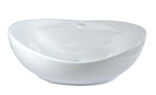Lavabo de Cerámica pequeño Ovalado sobre encimera Blanco Baño 40,5cmL 32,5cmB