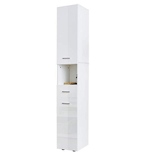Dripex Meuble Salle de Bain Meuble Colonne Armoire de Toilette Blanc 185x30x31cm