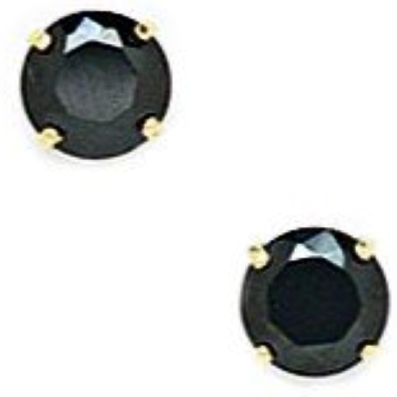 minorista de fitness 14ct oro amarillo negro de 5 mm y rojoondo CZ CZ CZ Juego de cesta pendientes - JewelryWeb  perfecto