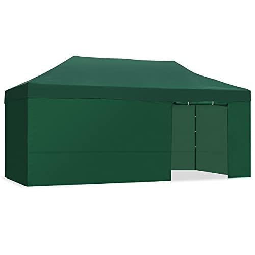 Mc Haus CARPLE 3X6 VERDE - Carpa plegable 3x6 m impermeable, carpas para exteriores y eventos, altura ajustable en 5 posiciones, 6 paredes, 1 puerta, cenador plegable para jardin o terraza, Verde