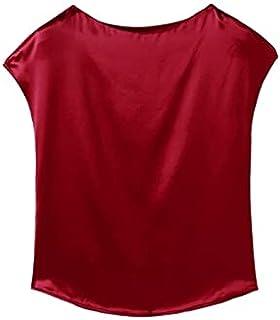 Wanxiaoyyyindx T Shirts for Women, Summer Fashion Ladies Silk T-shirt Satin Ladies Short Sleeve Office Ladies Blouse (Colo...