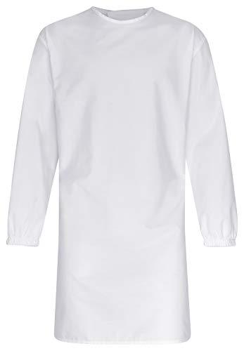 DESERMO Kittel Weiß mit Rückenverschluss | OP Kittel waschbar mit Bindegürtel zum Verschliessen | OP Mantel für z.B. Zahntechniker,Laboranten | 65% Polyester 35% Baumwolle | Stoffgewicht 150g/m²