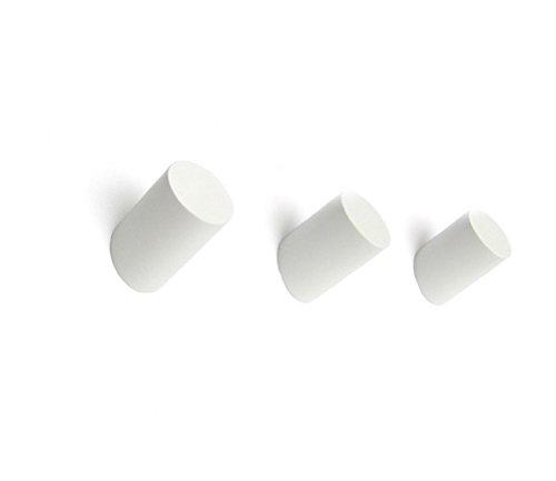 Ganchos de madera de roble macizo, diseño de perchero de pared, color natural, estilo escandinavo, juego de 3 (5,5 x 3, blanco)